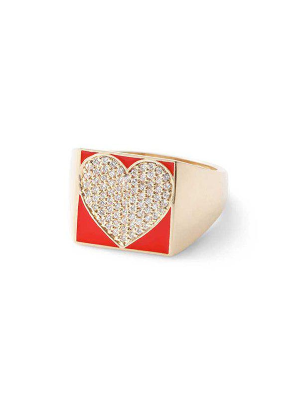 Heart Micro Pave Rhinestone Square Ring - LAVA RED