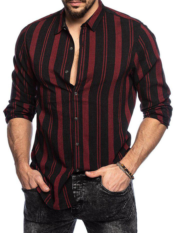 Vertical Striped Button Up Long Sleeve Shirt - RED WINE L