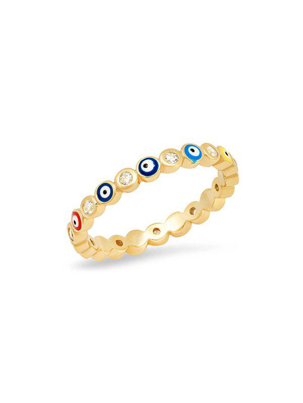 Rhinestone Eyes Pattern Ring - multicolor A