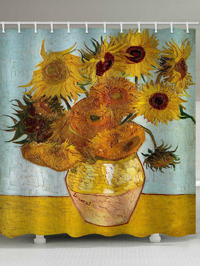 Sunflowers Painting Print Waterproof Bathroom Shower Curtain - multicolor W71 X L71 INCH