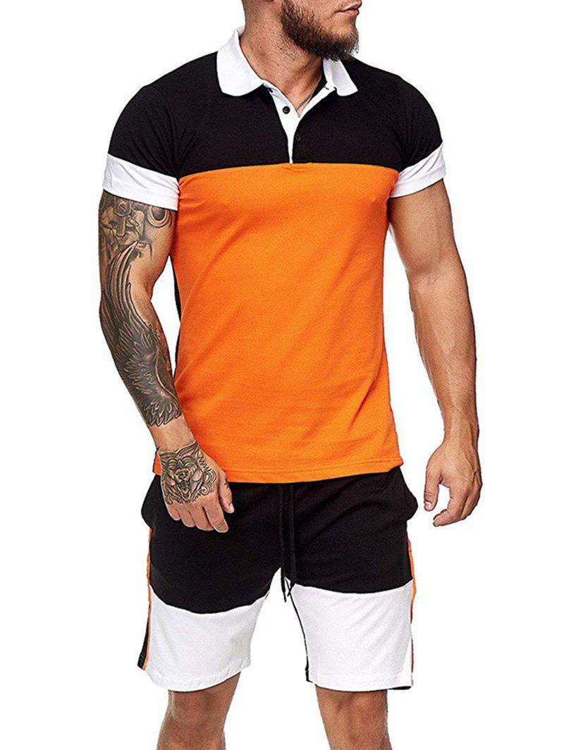 Colorblock Half Button T Shirt And Drawstring Casual Shorts Set - ORANGE M