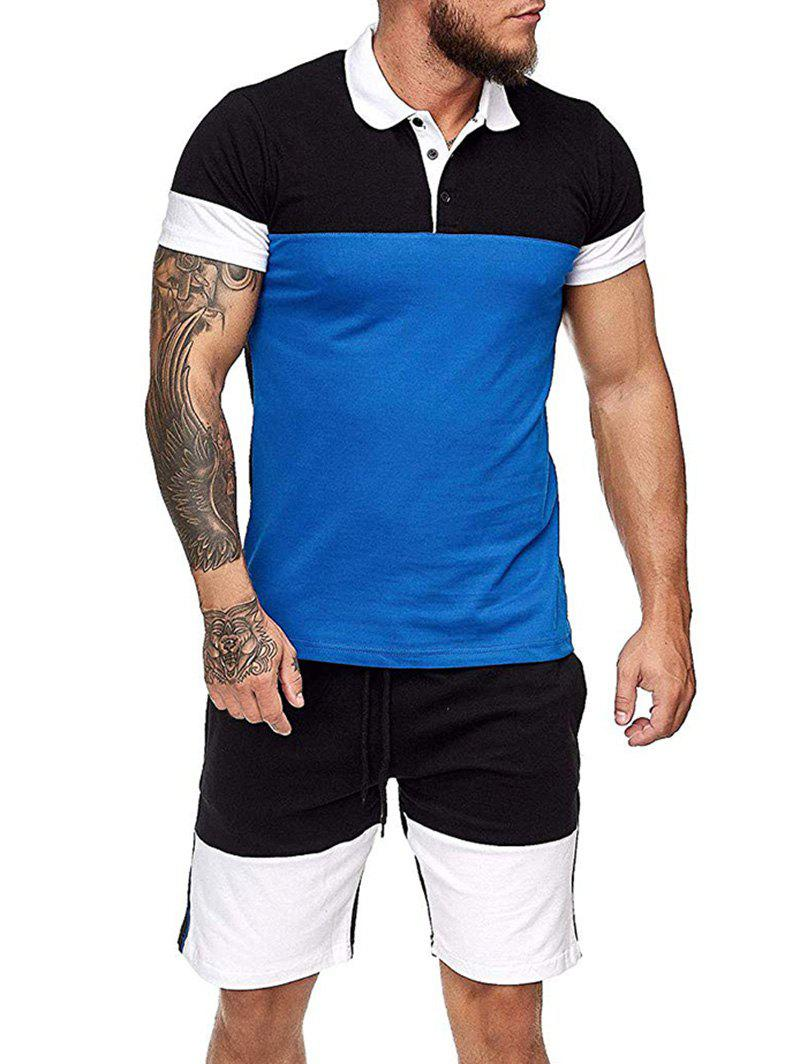 Colorblock Half Button T Shirt And Drawstring Casual Shorts Set - BLUE 3XL