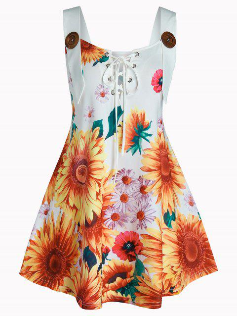 Plus Size Lace Up Sunflower Print Tank Top