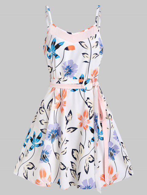 Floral Print Belt Mini A Line Dress