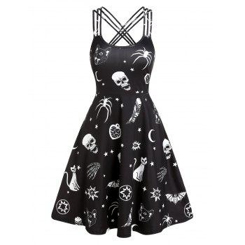 Skull Animal Print Cami Gothic A Line Dress