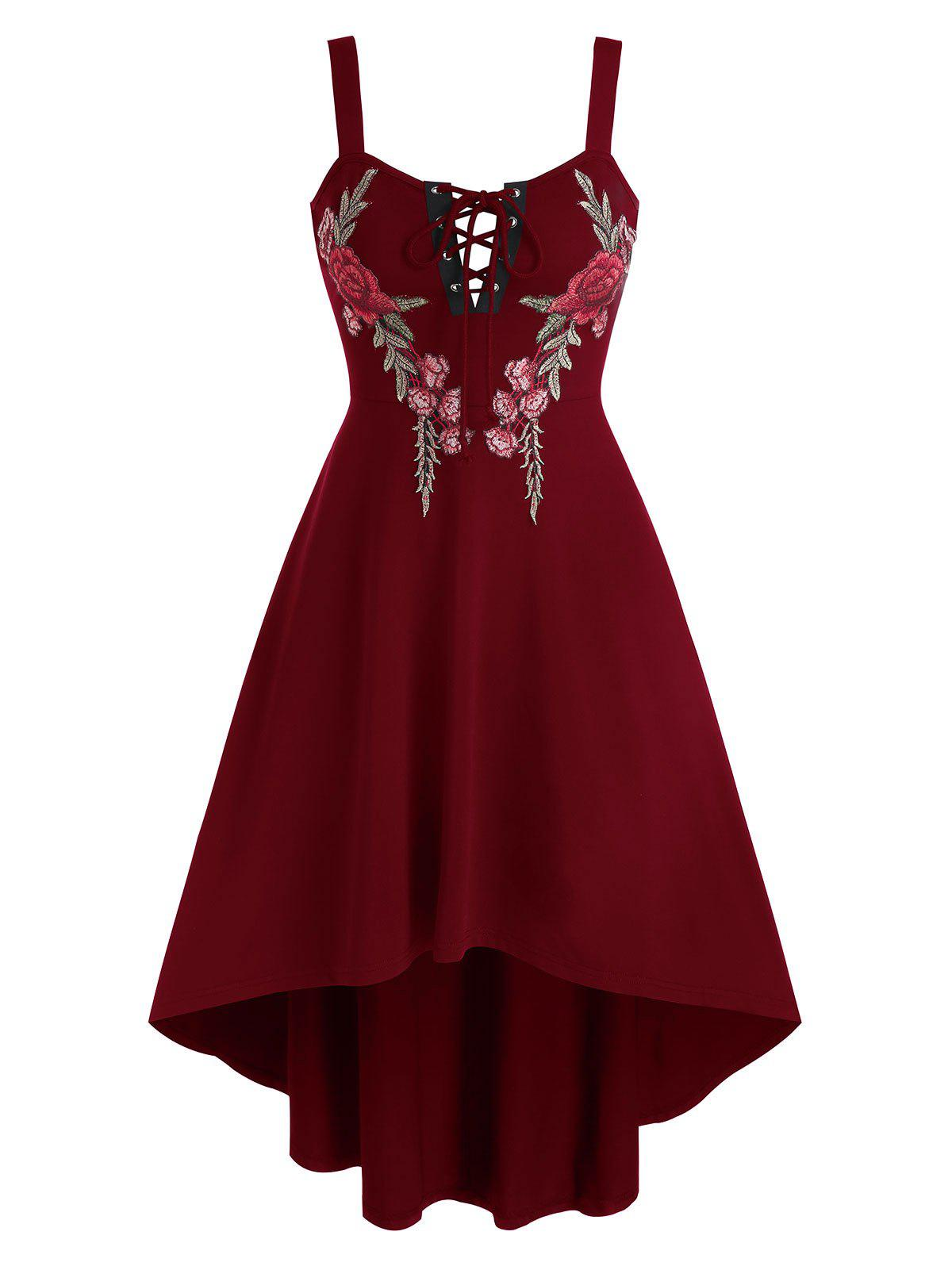 Flower Embroidered Lace-up High Low Flare Dress - RED WINE 3XL