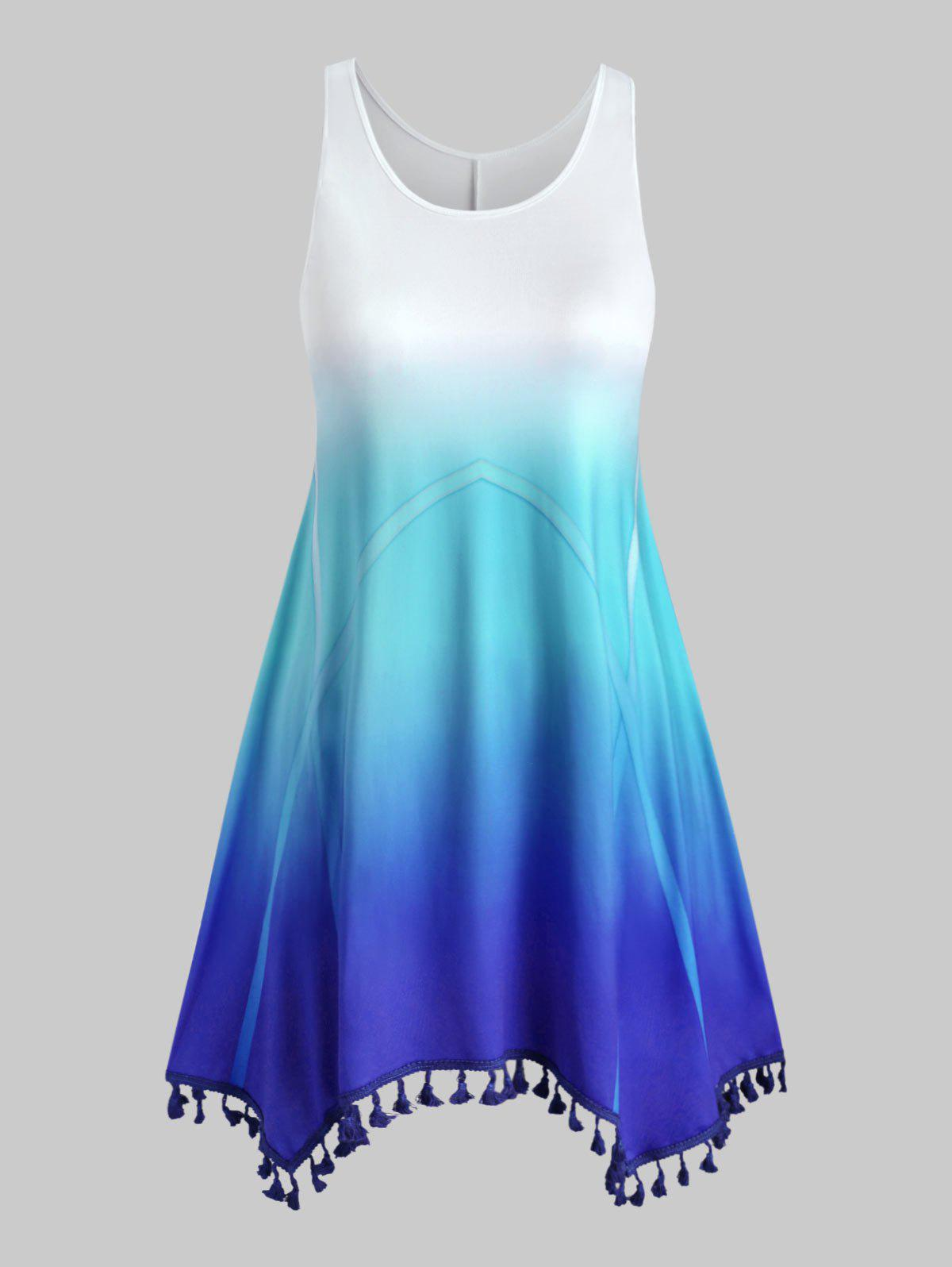 Tassels Ombre Swing Plus Size Dress - BLUE 3X