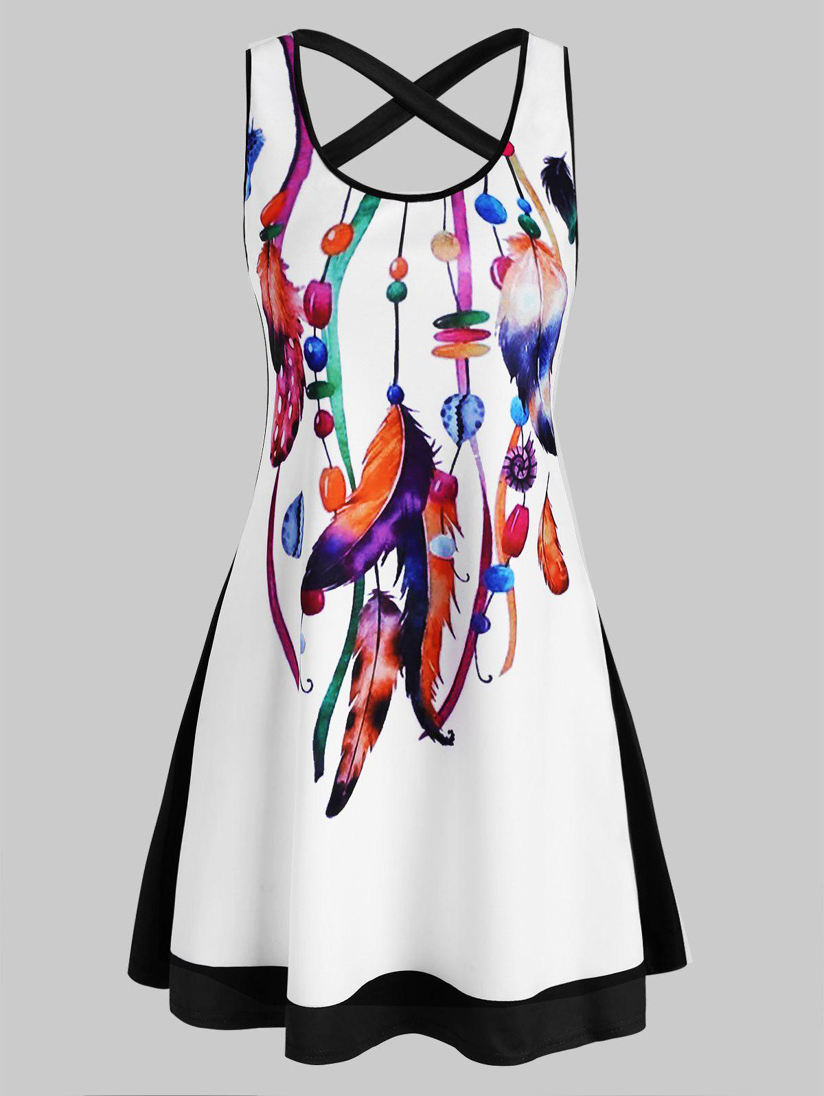 Feather Print Crisscross Mini Tank Dress - multicolor B M