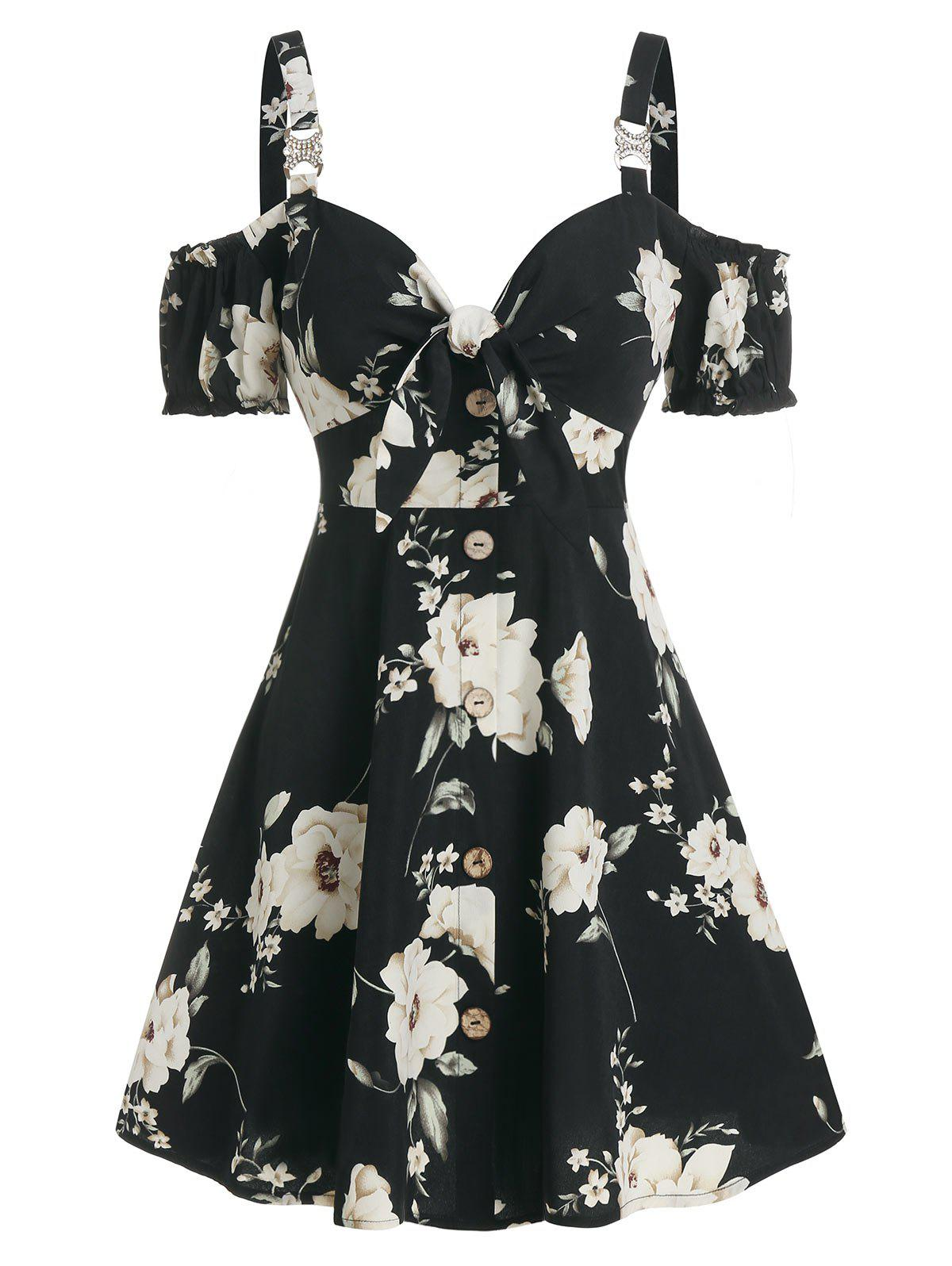 Floral Print Bowknot Cold Shoulder Dress - BLACK L