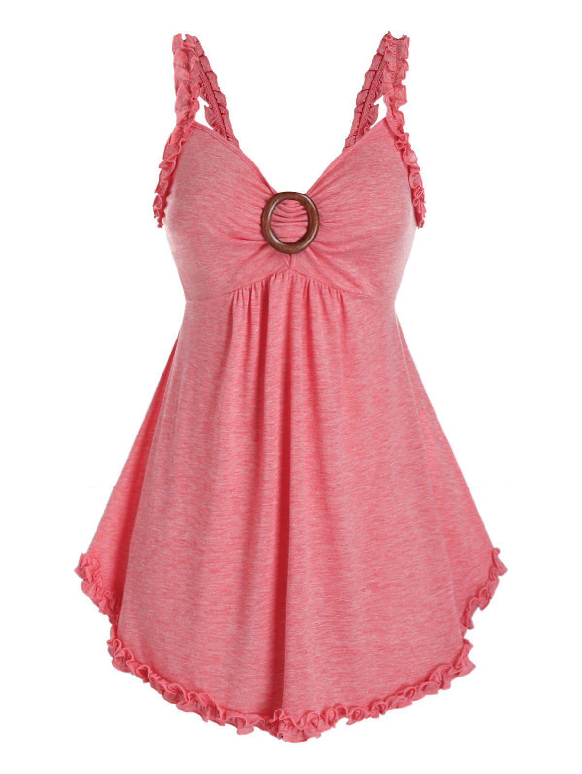 Plus Size Lettuce Frilled Backless Tunic Tank Top - PINK 5X