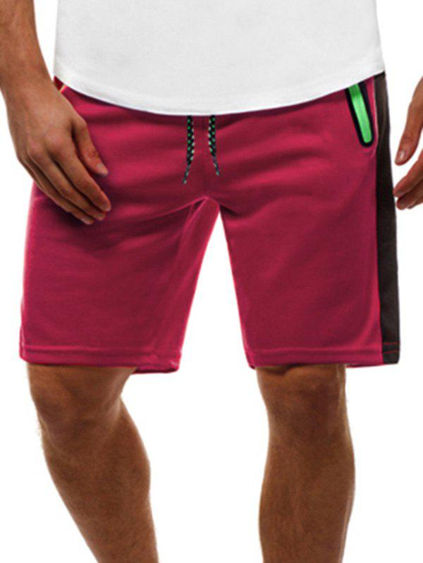 Contrast Color Zip Pockets Casual Shorts - RED L