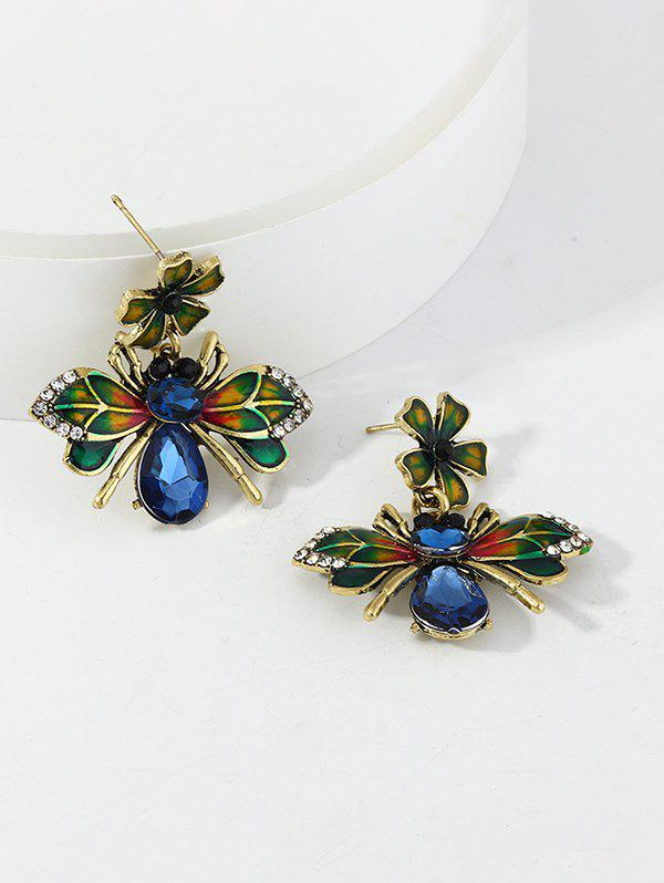 Glazed Flower Bee Exaggerated Earrings - GOLD