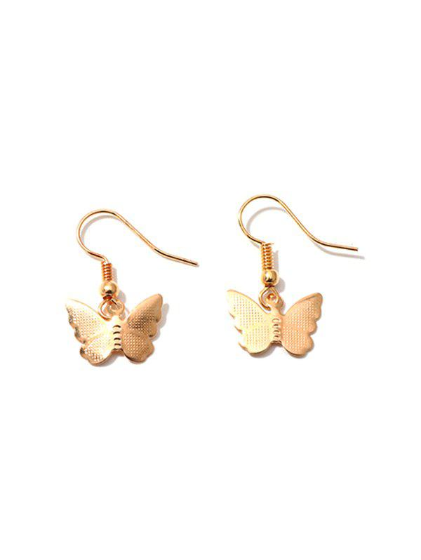 Pair of Butterfly Shape Drop Earrings - GOLD