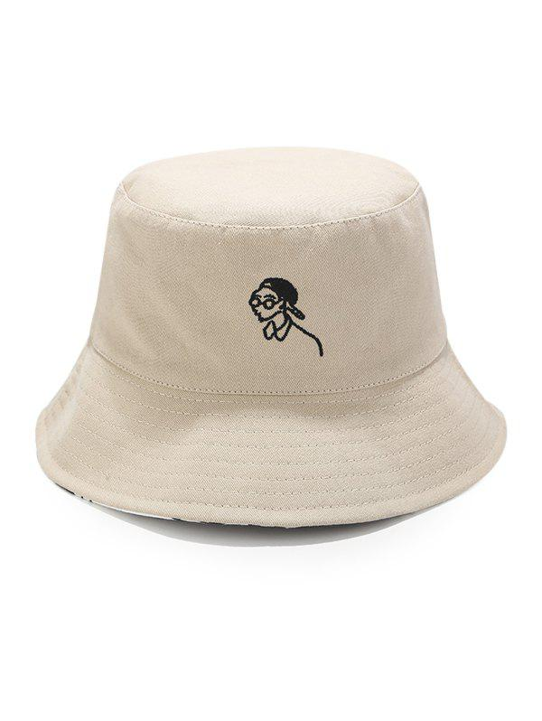 Cartoon Embroidery Sun Fisher Hat - BEIGE