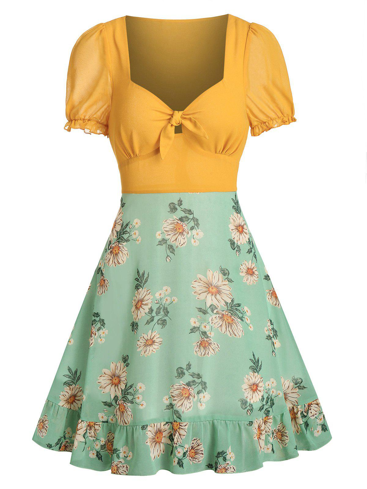 Floral Print Knot Front Chiffon Dress - GREEN M