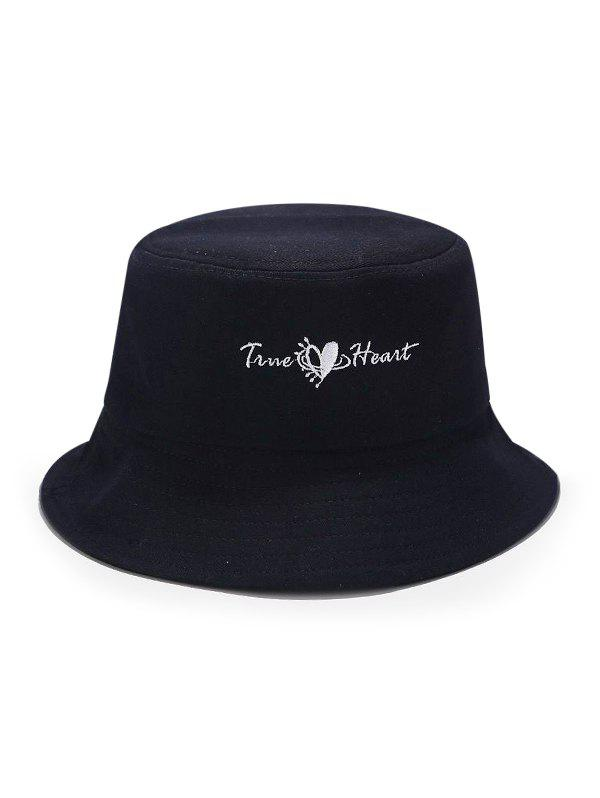 True Heart Embroidery Casual Bucket Hat - BLACK