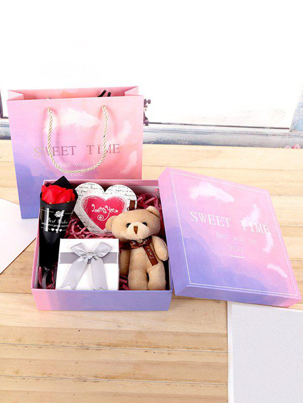 Mother's Day Gift Artificial Soap Rose Flower and Cartoon Bear Toy In A Box - multicolor A