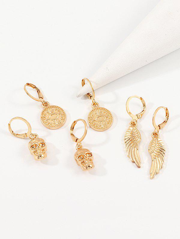 3Pairs Retro Skull Wings Earrings Set - GOLD