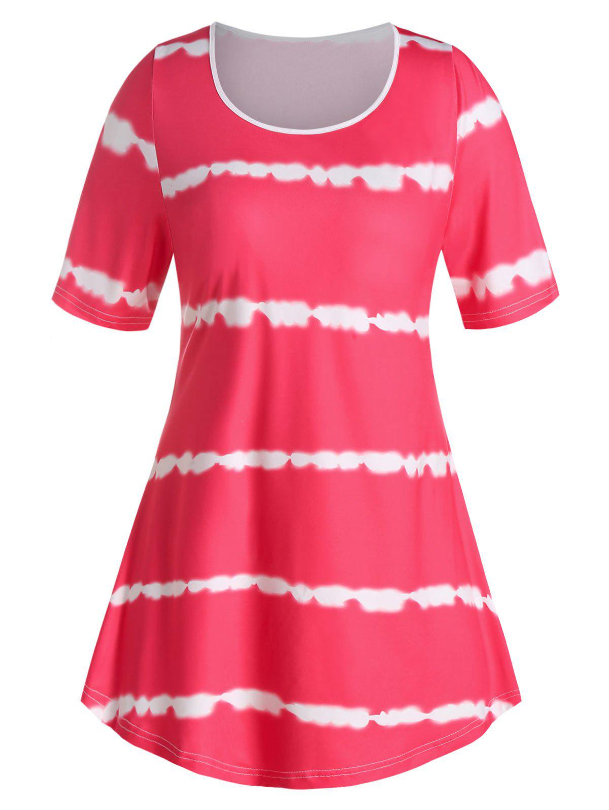 Plus Size Tie Dye Curved T Shirt - ROSE RED 2X