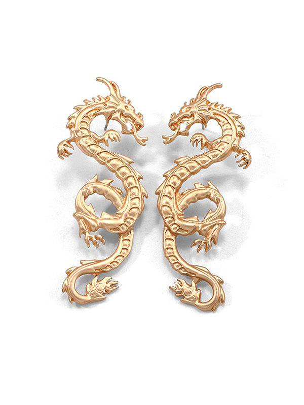 Carved Dragon Pattern Stud Earrings - GOLD