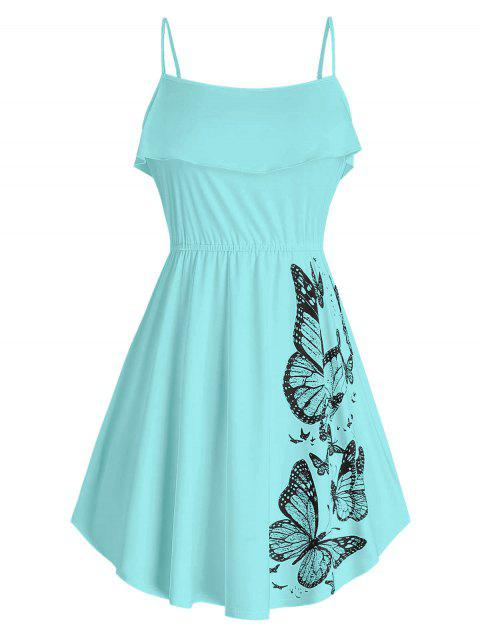 Plus Size Butterfly Print Ruffled Tank Top