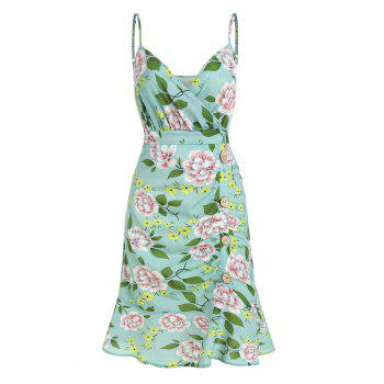 Floral Print Ruched Flounce Cami Dress