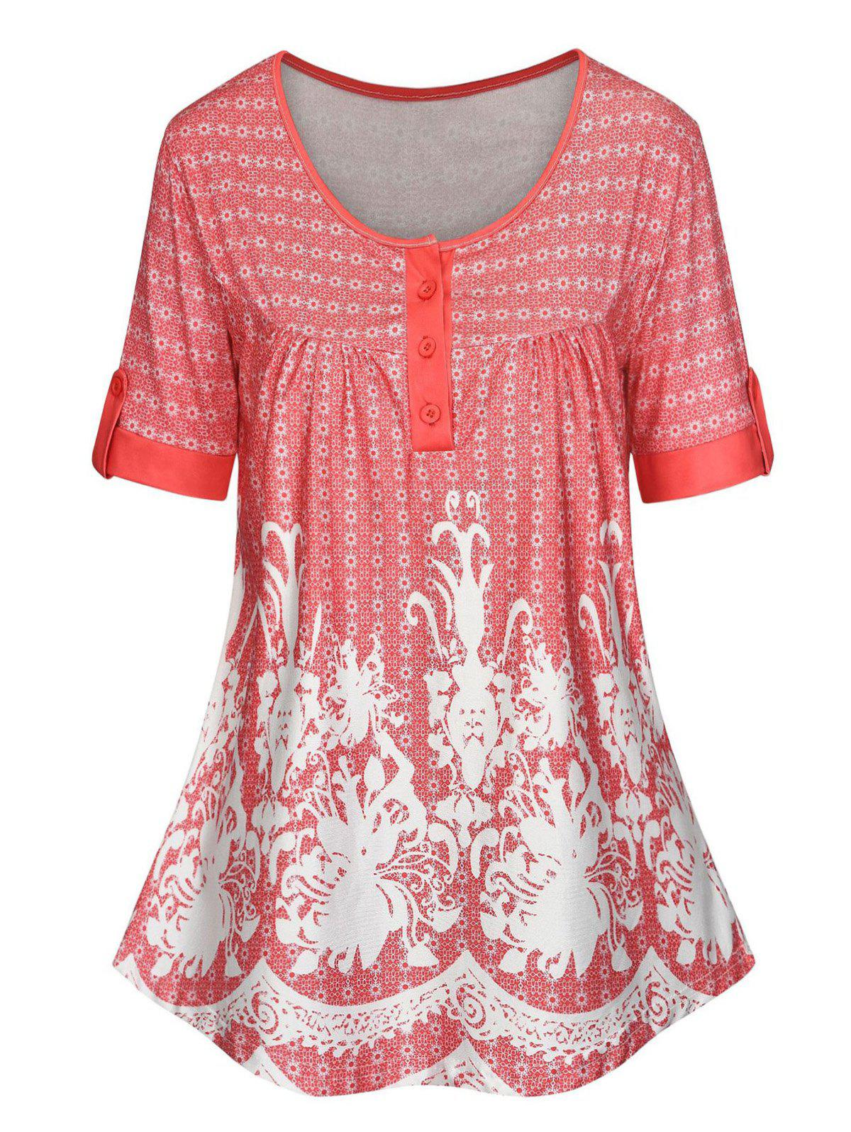 Plus Size Tribal Print Half Button T Shirt - WATERMELON PINK 2X