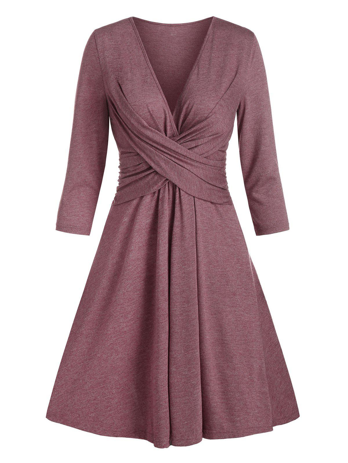 Front Twist Plunging Neck Mini A Line Dress - RED WINE M