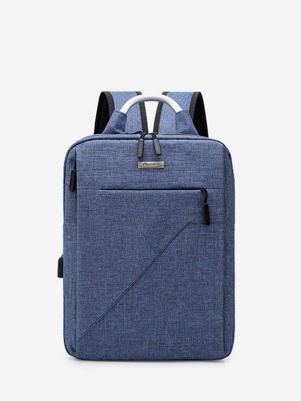 Pure Color Multi Zip Pockets Large Capacity Backpack - BLUE