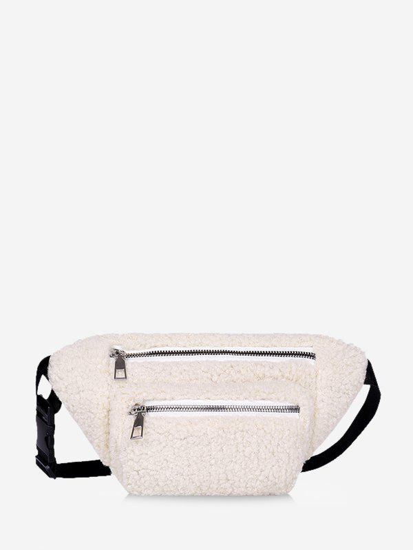 Pure Color Zip Pockets Adjustable Fluffy Chest Bag - WHITE