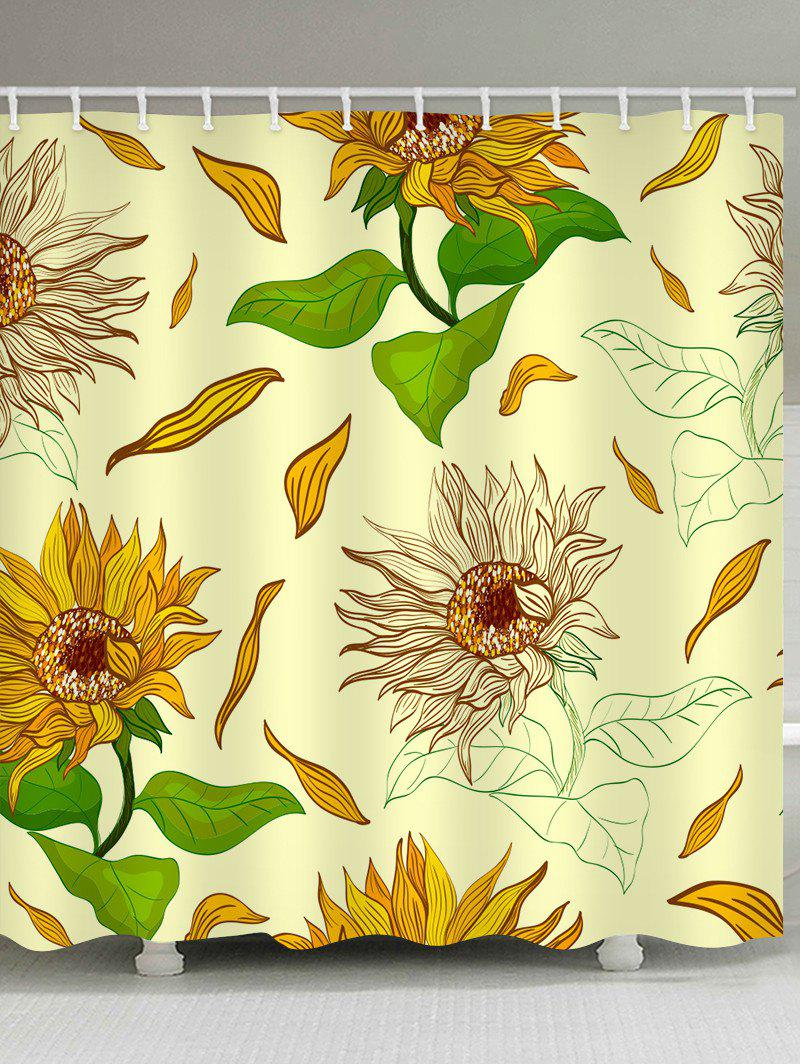 Painted Sunflower Pattern Waterproof Shower Curtain - multicolor W71 X L71 INCH
