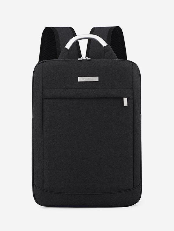 Solid Color Large Capacity Laptop Backpack - BLACK