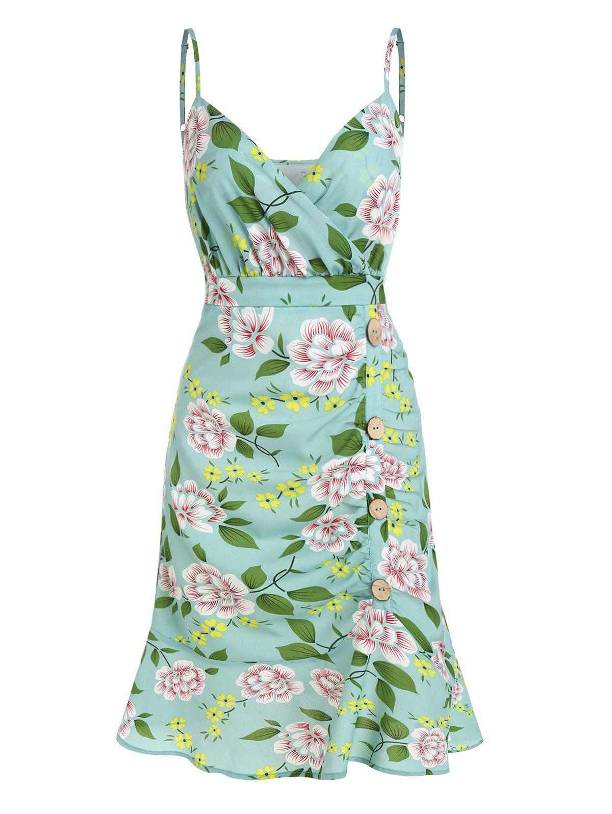 Floral Print Ruched Flounce Cami Dress - CYAN OPAQUE 3XL