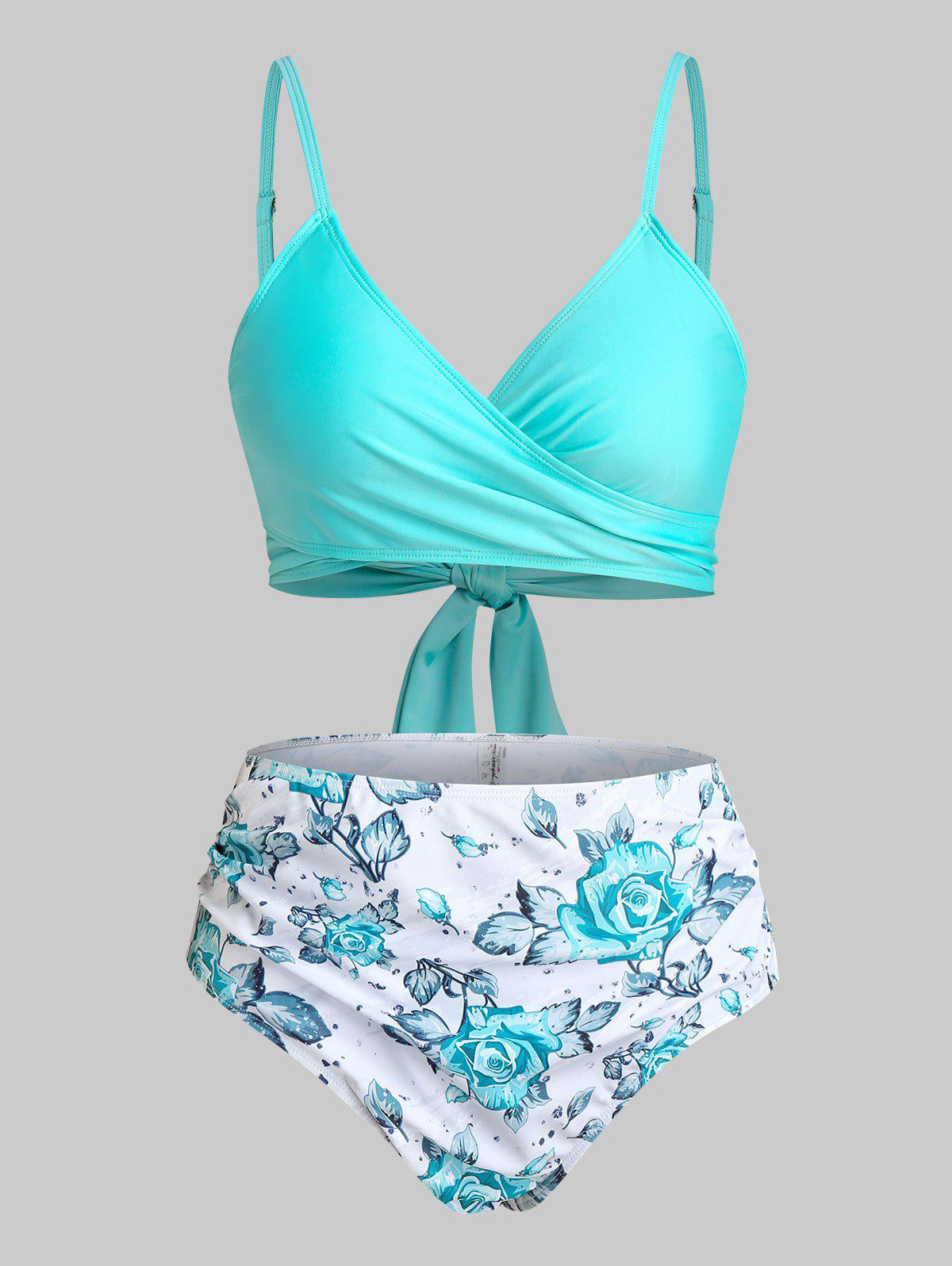 Plus Size Floral Print Back Tie Wrap Bikini Swimwear - LIGHT AQUAMARINE 2X