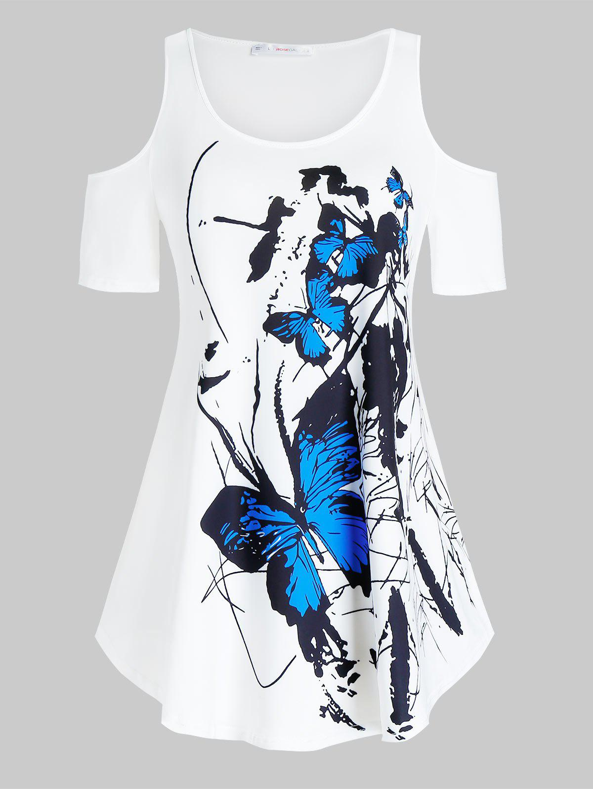 Plus Size Butterfly Print Open Shoulder Tunic Tee - WHITE 3X