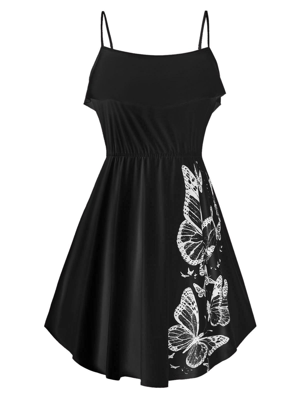 Plus Size Butterfly Print Ruffled Tank Top - BLACK L