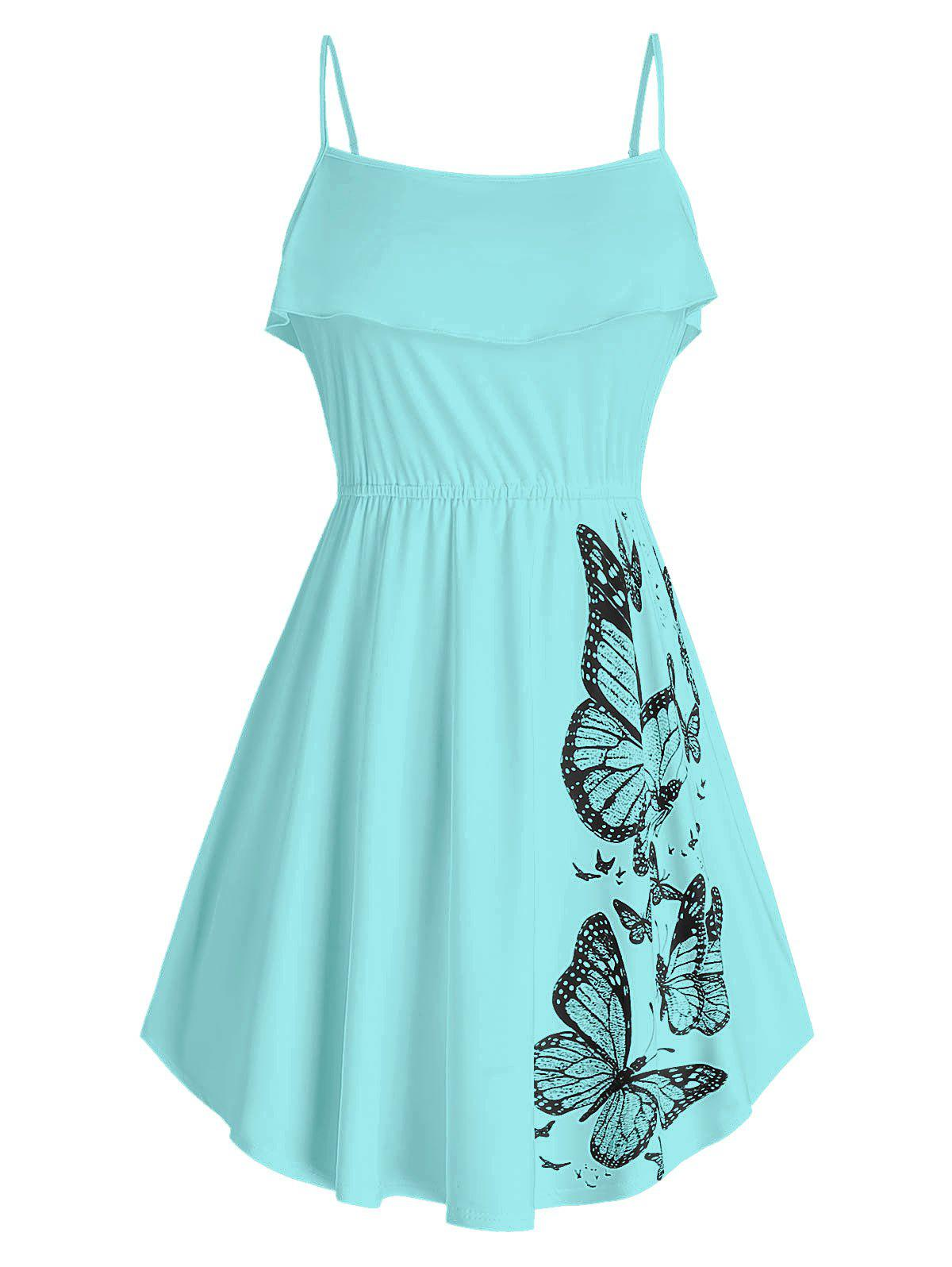Plus Size Butterfly Print Ruffled Tank Top - CORAL BLUE 2X