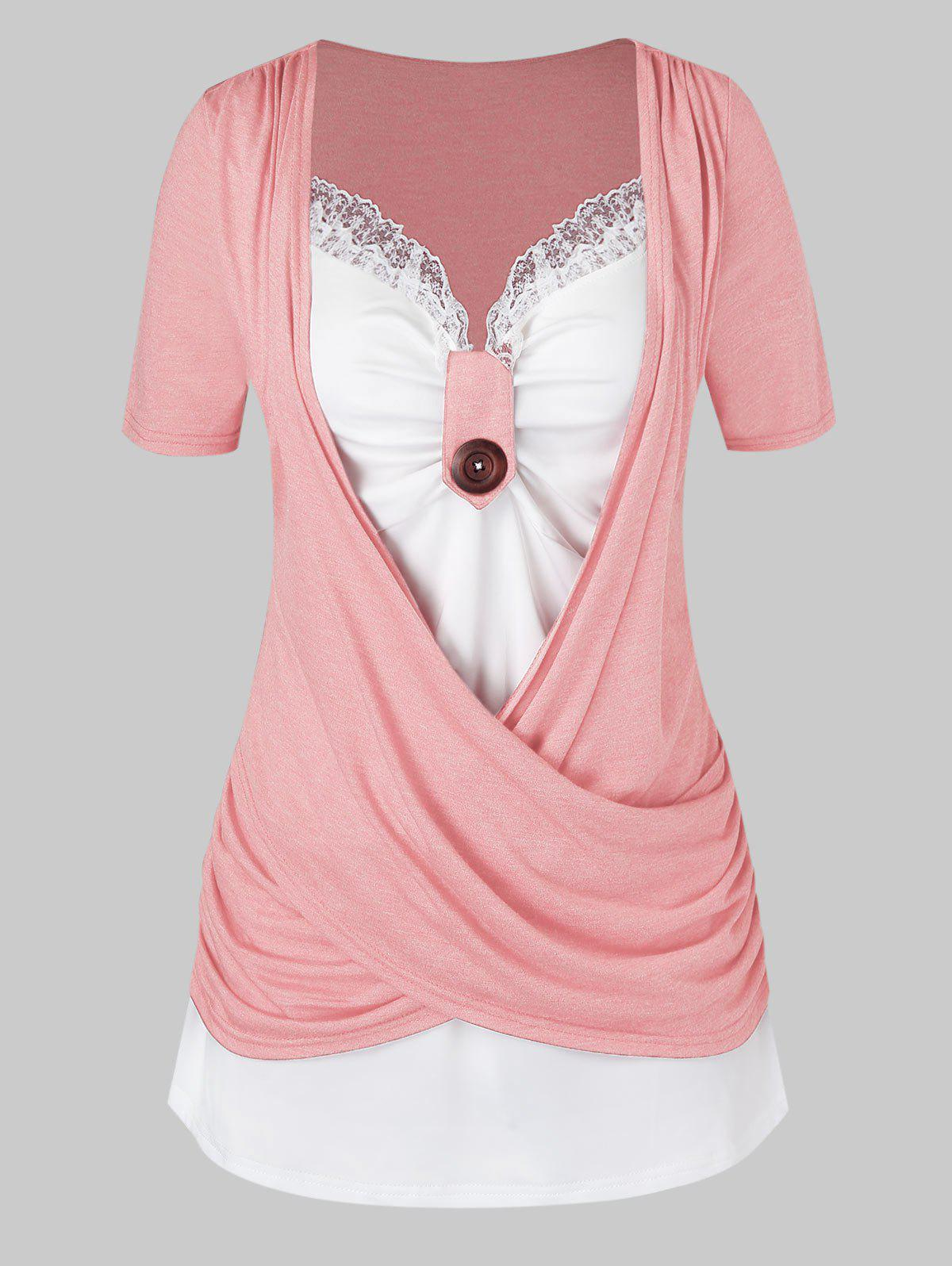 Plus Size Crossover Knotted Colorblock T Shirt - LIGHT PINK 1X