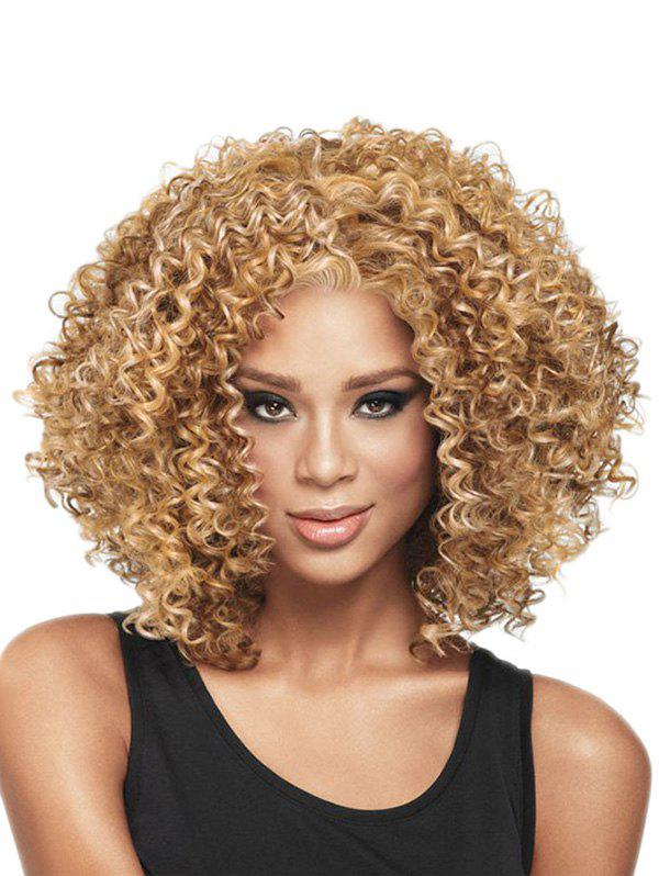 Medium Curly Synthetic Afro Wig - CAMEL BROWN