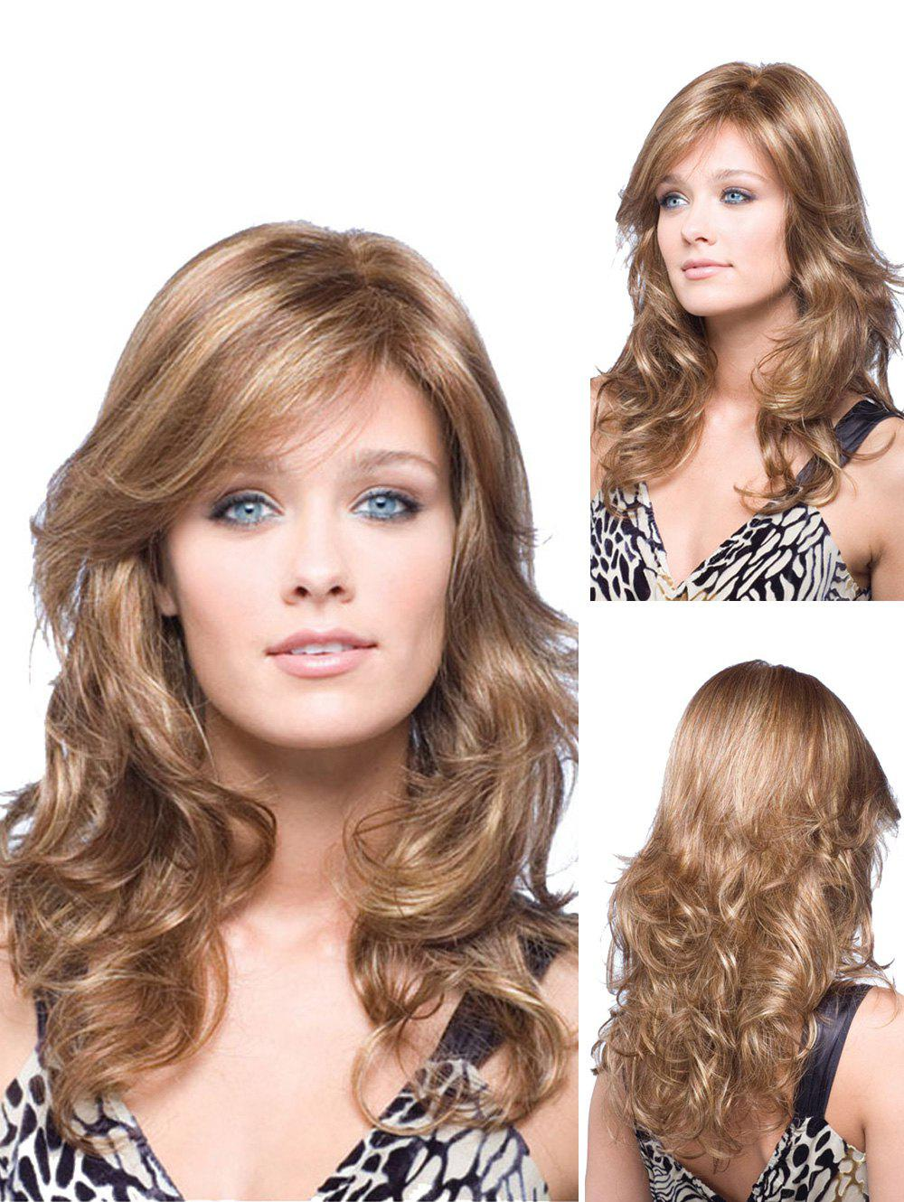 Long Side Bang Body Wave Fluffy Synthetic Wig - CAMEL BROWN