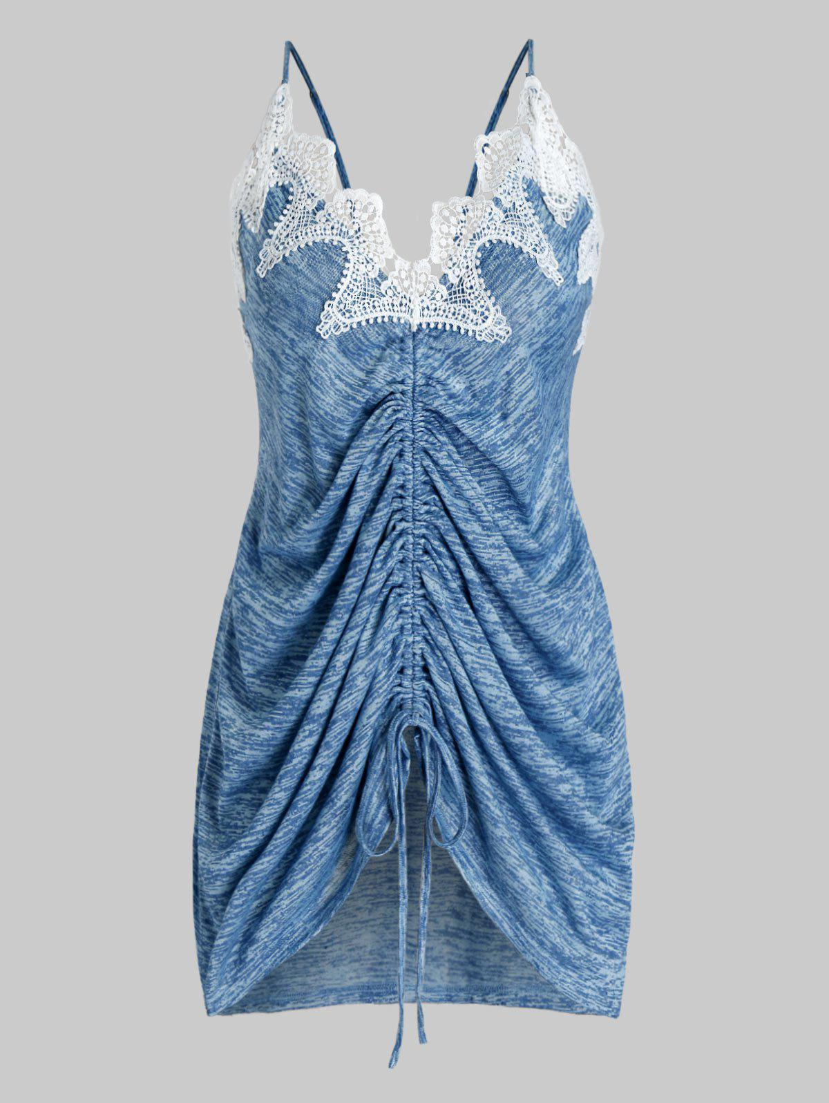 Plus Size Contras Lace Cinched Marled Tank Top - PEACOCK BLUE 5X