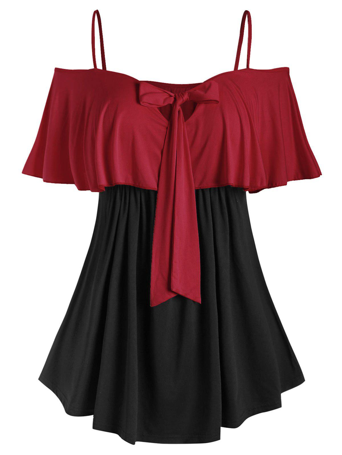 Plus Size Bowknot Ruffled Colorblock T Shirt - RED WINE L