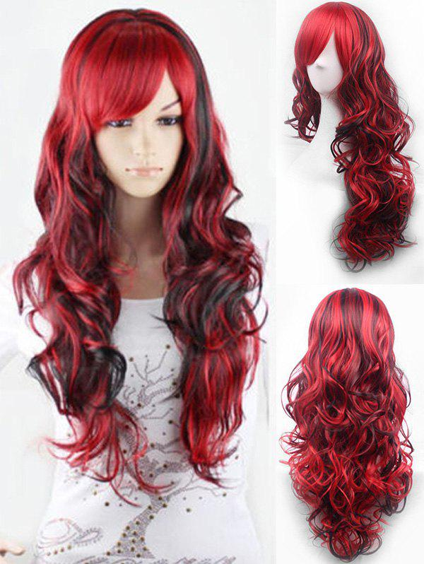 Cosplay Long Oblique Bang Body Wave Ombre Synthetic Wig - RED WINE