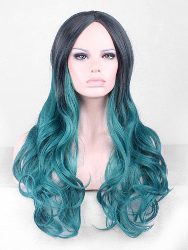 Center Part Harajuku Cosplay Gradient Wavy Long Synthetic Wig - LIGHT SEA GREEN