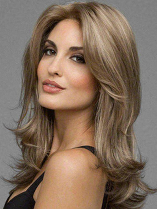 Long Slightly Wavy Middle Part Heat Resistant Synthetic Wig - CAMEL BROWN