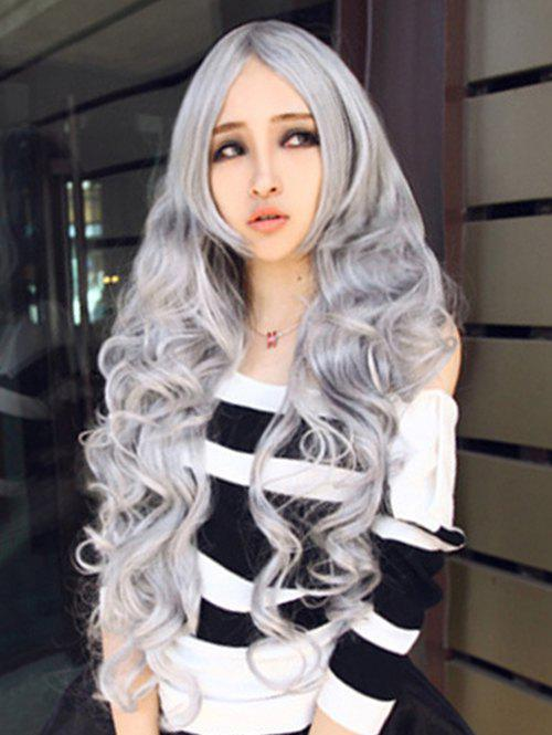 Long Cosplay Anime Wavy Middle Part Synthetic Wig - GRAY CLOUD