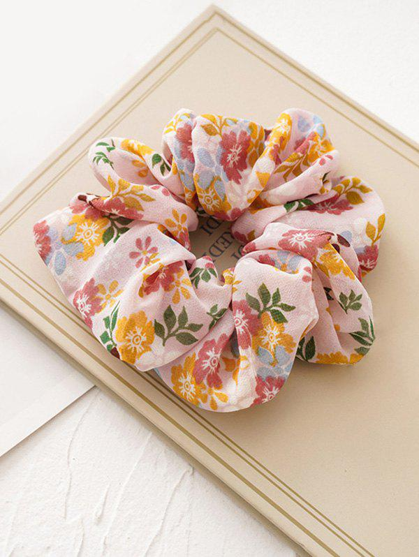 Tiny Flower Fabric Elastic Scrunchies - PINK
