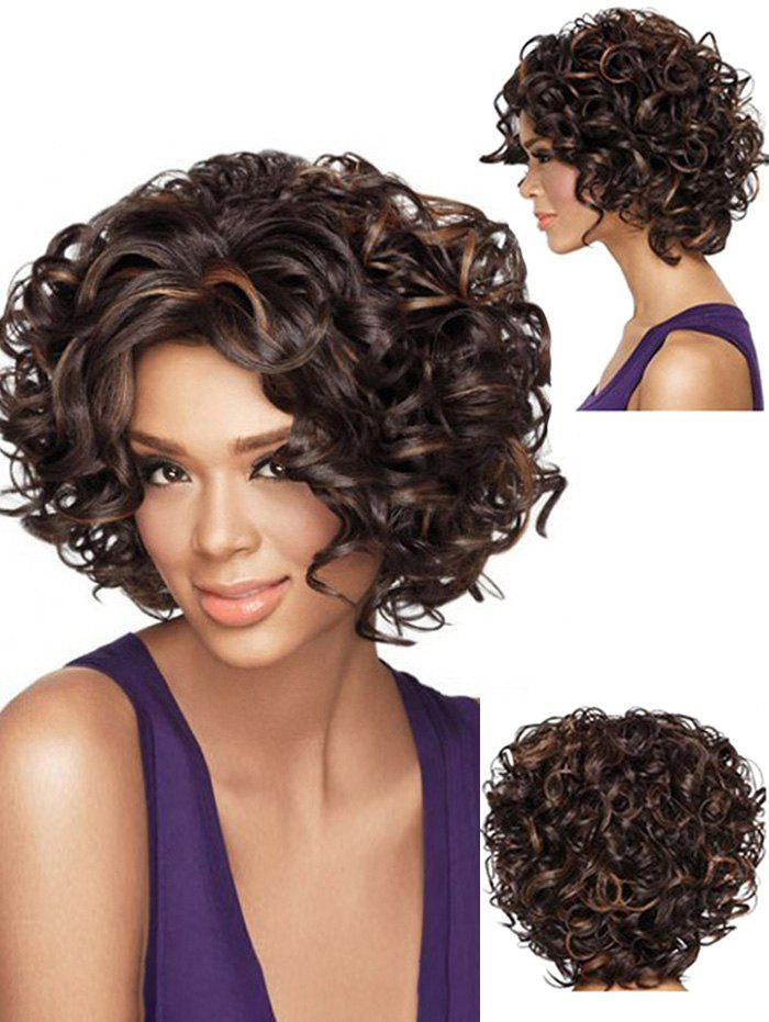 Short Curly Hair Fluffy Heat Resistant Fiber Synthetic Wig - BLACK