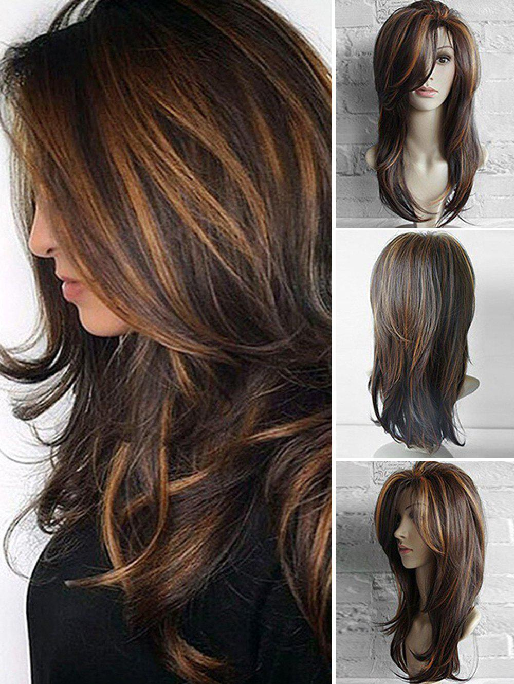Mixing Color Oblique Bang Slightly Wavy Long Layered Synthetic Wig - COFFEE