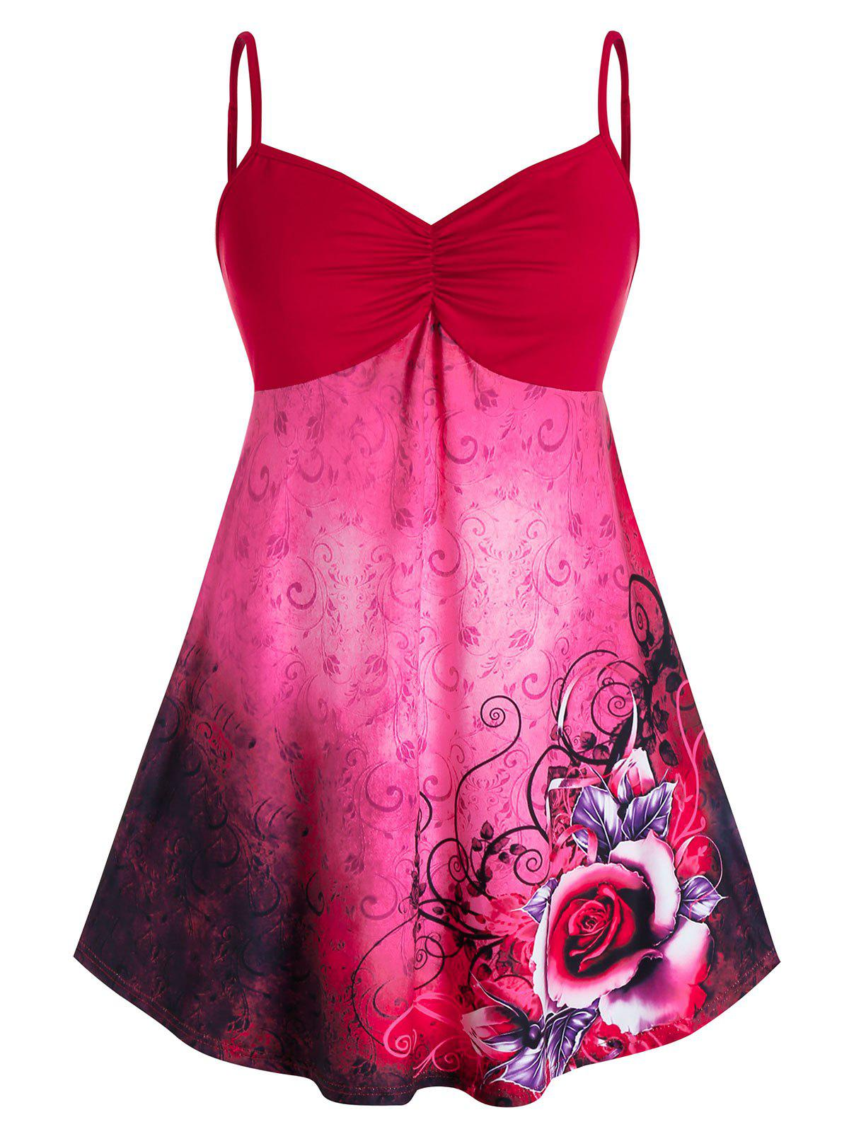 Plus Size Ruched Floral Print Empire Waist Tank Top - LAVA RED L